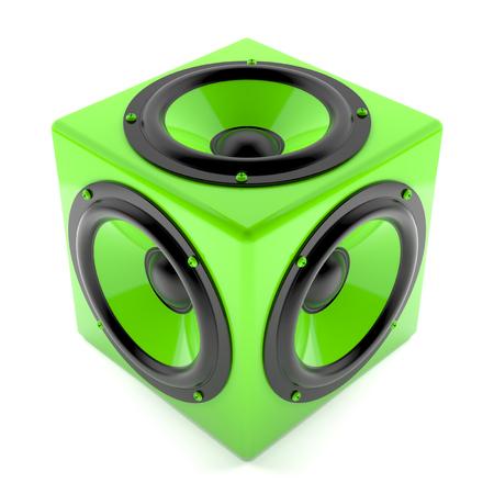 decibel: Render illustration of green sound speakers on cube