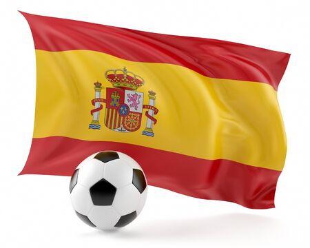 Football ball and flag Spain background.3d illustration. Stock Photo