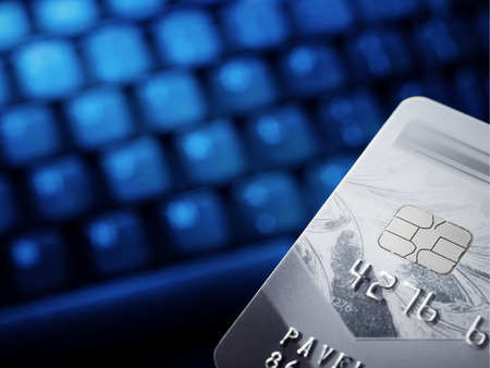 Credit card.Computer keyboard. Financial business background