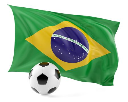 Football ball and flag background.3d illustration.