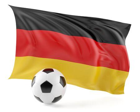 soccer goal: Football ball and flag background.3d illustration.