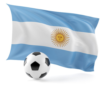Football ball and flag Argentina background.3d illustration.