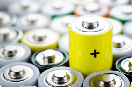 AA alkaline batteries close up Stock Photo