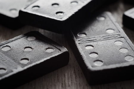 Close-up of wooden vintage domino game. Imagens