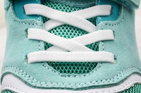 Female running shoe closeup. Imagens