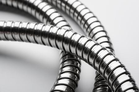 Corrugated hose shower tubing closeup