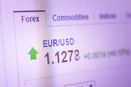 Currency exchange rate for forex market on computer monitor