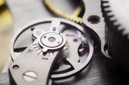 Old watch mechanism very close up Stok Fotoğraf