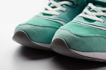 Female running shoes closeup.