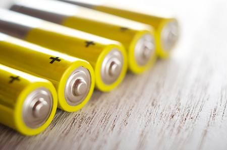 AA alkaline batteries close up Imagens