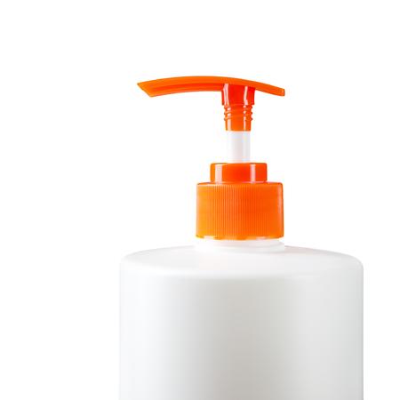 Plastic bottle of liquid soap.Isolated on white. Imagens