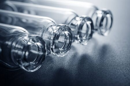 Opened glass ampoules without cap.