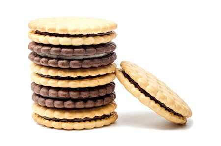 Cookies with filling on a white background Reklamní fotografie - 135502401