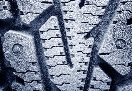 Winter studded tyre.Frosted protector
