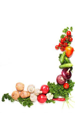 verduras verdes: hortalizas aislados sobre un fondo blanco