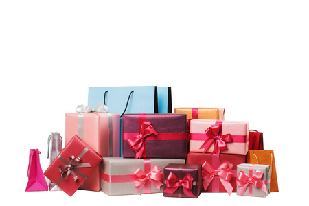 birthday present: Boxes with gifts isolated on white