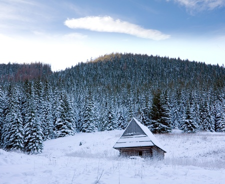 Winter scene in mountains with wooden house photo