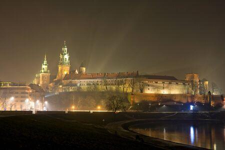 Wawel castle in night. Krakow, Poland.  Stock Photo