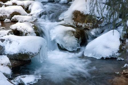 snowbound: winter stream among snowbound stones
