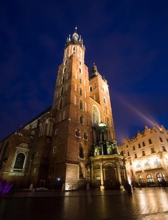 Mariacki church in Krakow, Poland. Night shoot Stock Photo