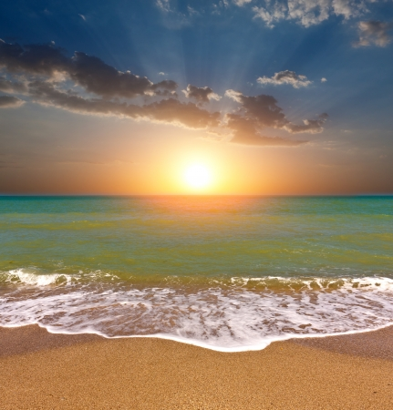 nice sunset over sea beach Stock Photo - 13748280