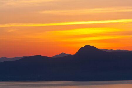 sunsen over mountains Stock Photo - 13748270