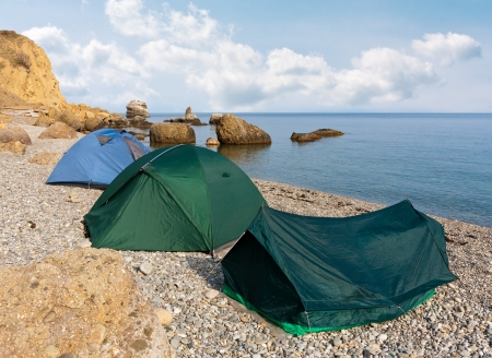 tourist tents in sea camp