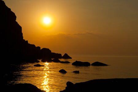 Nice sunset scene on sea Stock Photo - 13750919