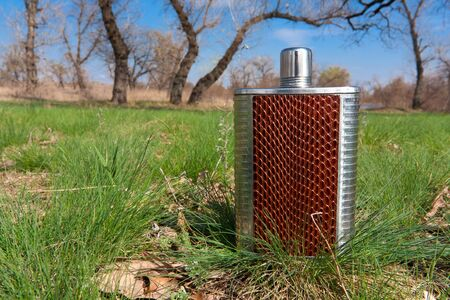 Stainless hip flask on grass in forest Stock Photo