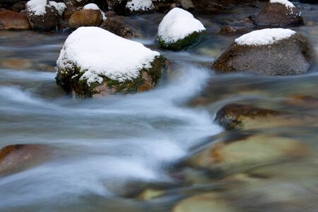mountain stream in winter time