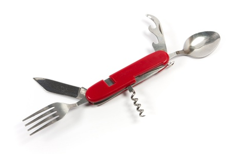 stainkess steel pocket knife with red bar