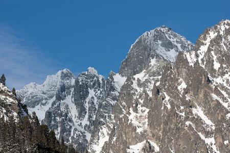 Scene with mountains peak photo