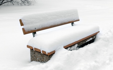 Bench in park covered snow