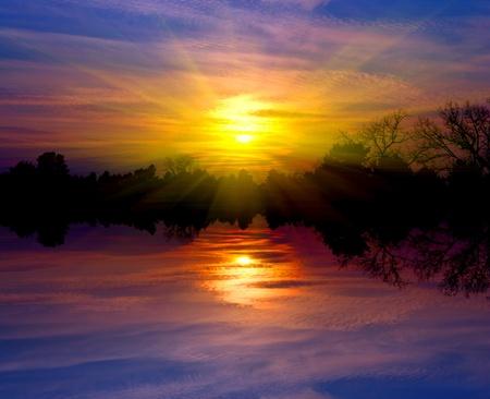 Sunset scene on lake Stock Photo - 13763019