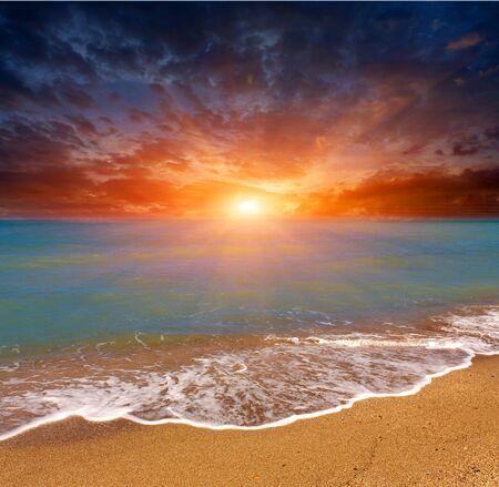 hot sunset over sea Stock Photo - 13765715