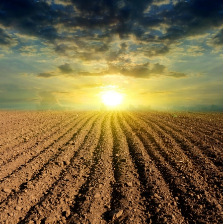 sunset over ploughed field Stock Photo