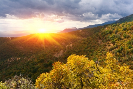 autumn colors in crimean mountains photo