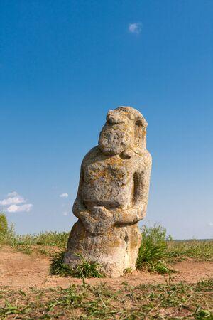slavonic: Stone idol in steppe, Ukraine  Stock Photo