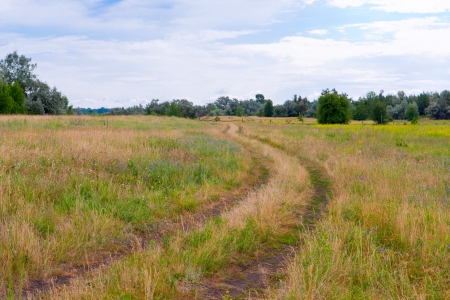 rural road in steppe on field photo