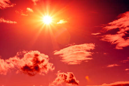 hot sunshine in red sky photo