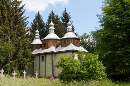 old wooden church in forest