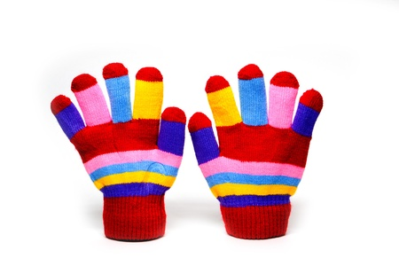 red mittens with color stripes over white