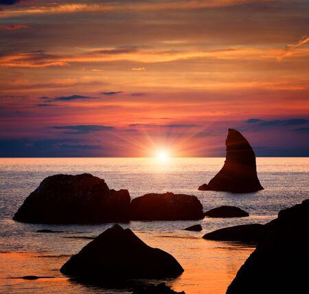 Nice sunset scene on sea Stock Photo - 14573688