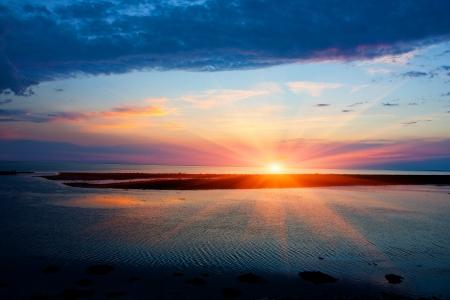 nice evening scene on lake Stock Photo - 14714694
