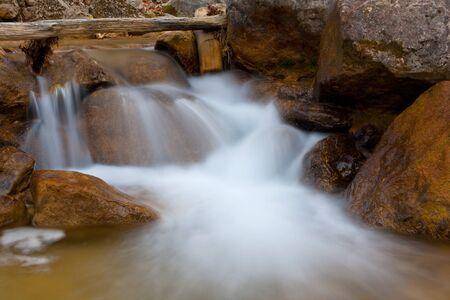 Nice mountain stream among stones photo