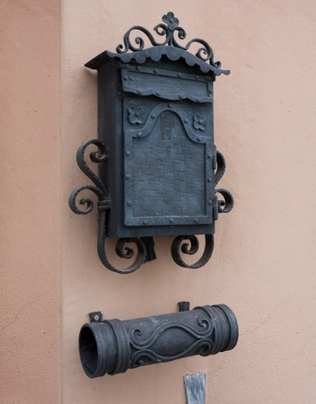 vintage mail box on wall photo