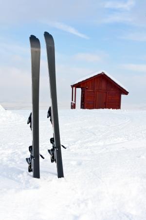 ski in snow in winter mountains Stock Photo