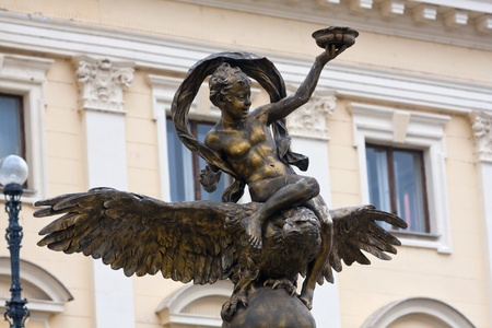 yellov: Ganymed sculpture on National Theatre Bratislava background