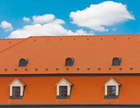 Nice red roof on nice sky background