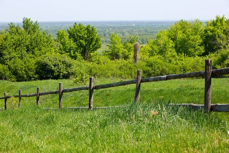 fence on green meadow in nice summer day photo